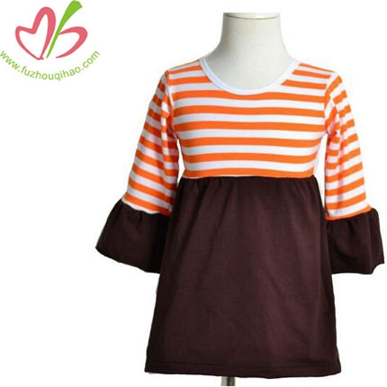 Kids Halloween O-neck Stripe Ruffle Dress