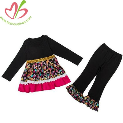 High Quality Girls Long Sleeve Cotton Ruffle 2pcs Outfit