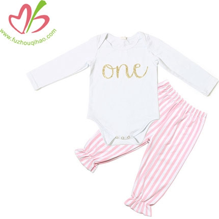 Simple Design Long Sleeved Plain Baby Rompers Sets