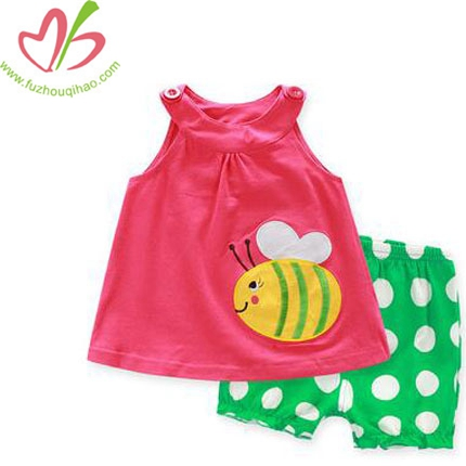 Solid Color Blouse + Polka Dots Pant Baby Girls Clothing Sets