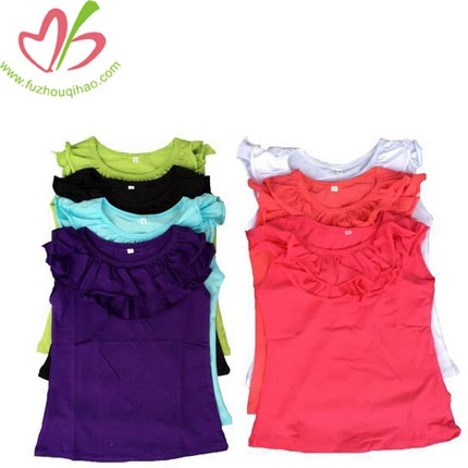 Plain Kids Fancy Tank Top Girls Cotton Ruffle Cuff