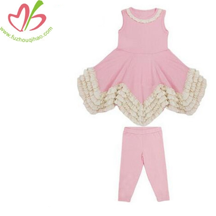 100% Cotton Soft Fabric Girls 2PCS Ruffle Sets