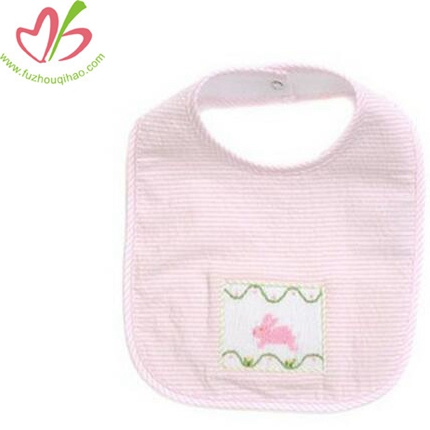 Baby Cotton Seersucke Pink Drool Bibsr