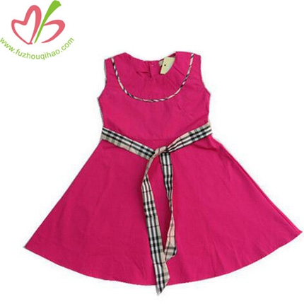 Girls Summer Red Color Sleeveless Dress