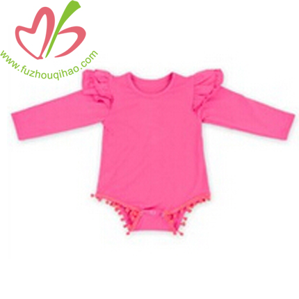 Hot Pink Baby Girls Long Sleeve Romper with Pom Pom