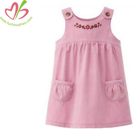 Embroidered Design Of Girls Pink Corduroy Dresses