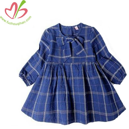 Fashion Girls Long Sleeve Ruffle Cotton Dress