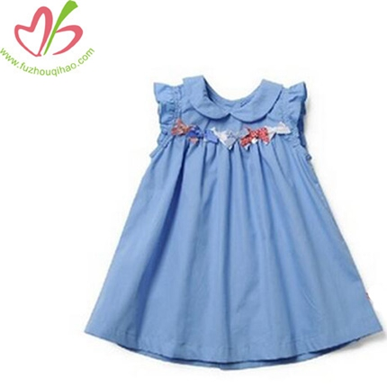 Neck Bpwknot Decorate Pakistani Girls Cotton Dress