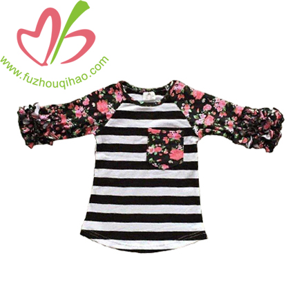 Girl's Raglan Floral T Shirt With Icing Ruffle