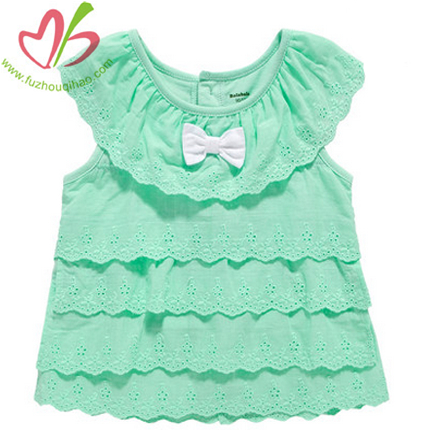 Mint Lace Trim Girl's Top
