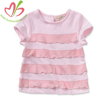 Pink Baby Girl's Tshirt with Ruffles