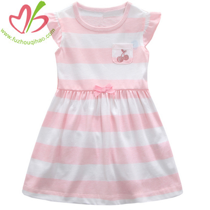 Pink and White Stripe Girls Flutter Sleeves Dress