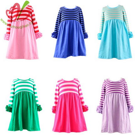 Stripe Solid Color Girl's Dress