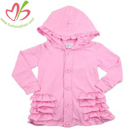 Solid Hooded Ruffled Girl's Jacket