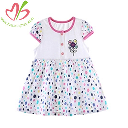 Summer Puffed Short Sleeve Dress for Girls