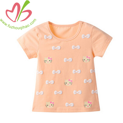 Cute Cotton Girl's T Shirt with Hello Kitty print