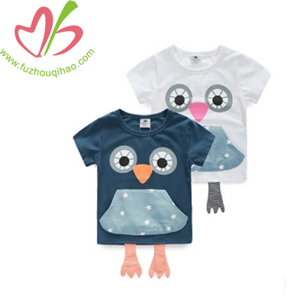 Cute Girl's Top with Owl Print