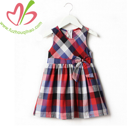 Girl's Gingham Vest Dresses with Bow