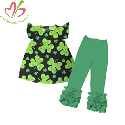 Girl's Clover printed Sets with Triple Ruffles Pant