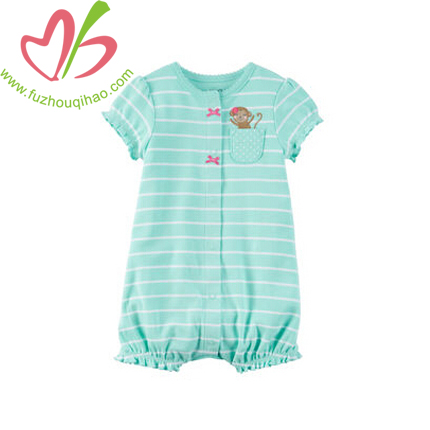 Cute Baby Girl's Mint Stripe Bubble