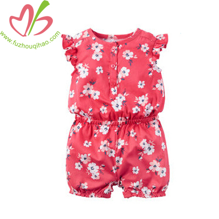 Cotton and Comfortable Baby Flutter Sleeve Coveralls