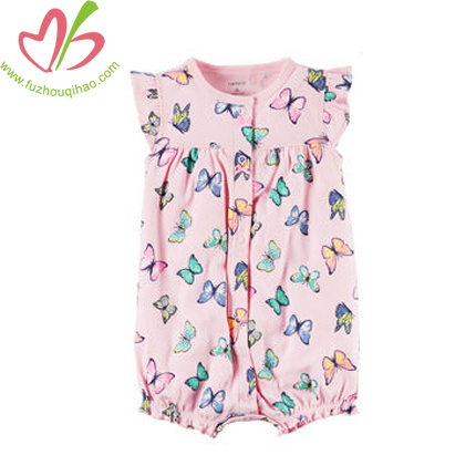 Baby Flutter Sleeve Bubble with Butterfly print