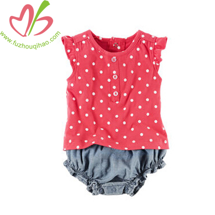 Baby Girl's Flutter Sleeve Polka Dot Bubble