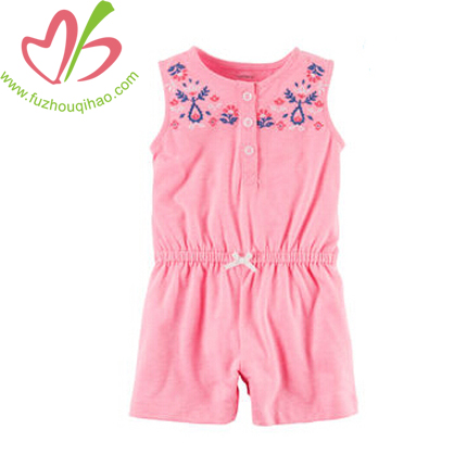Pink Baby Girl's Sleeveless Jumpsuit