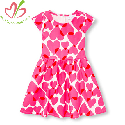 Cute Girl's Heart Print Flutter Dresses