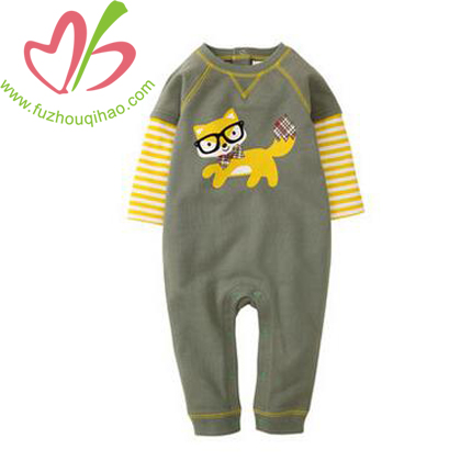 Cute Baby Boy's Printed Long Sleeve Jumpsuit