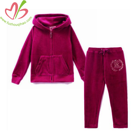 Fuchsia Girl's Long Sleeve Velvet Sets