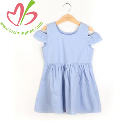 Blue Girl's Flutter Sleeve Dresses