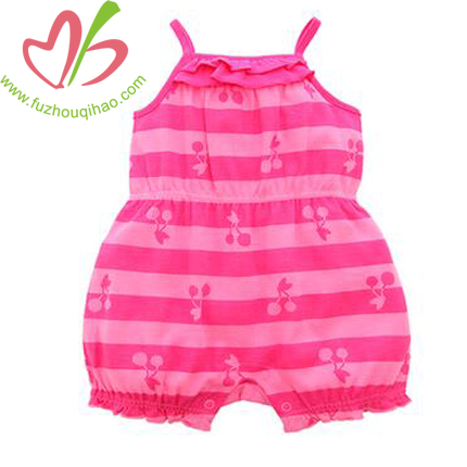 Pink Printed Baby Girl's Sleeveless Bubble