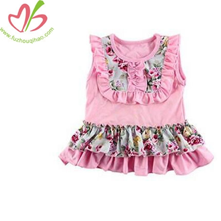 Girl Kids Toddler Sleeveless Floral Bib Tank Tops T-Shirts