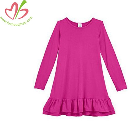 Girls Cotton Long Sleeve A-Line Ruffle Hem Dress