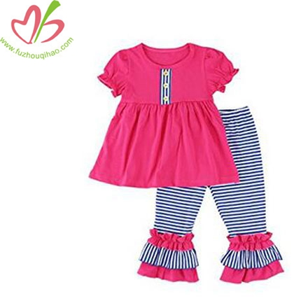 Girls Short Sleeve Ruffle Shirts and Pant Clothing Sets