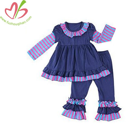 Girls Striped Knit Cotton Clothing Sets Top Dress+Ruffle Pants Kids Clothes