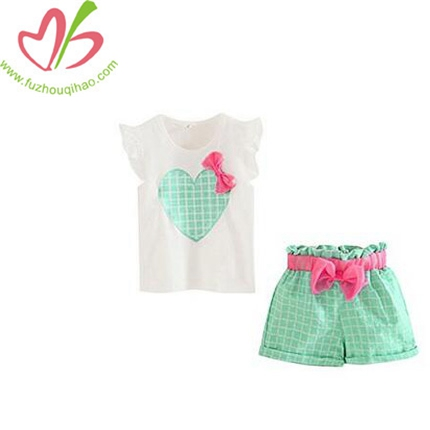 Girls Sleeveless Sets T-Shirts Plaid Shorts Vest Summer Outfit