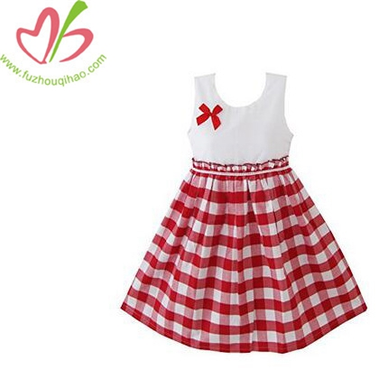 Cute Girls Dress Red Tartan Sundress