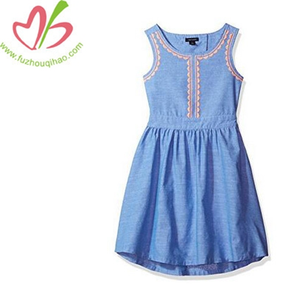 Girl's Solid Cotton Vest Dress