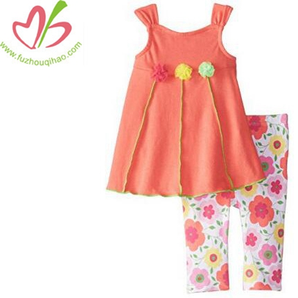 Girls' Pink Tunic With Print Leggings Sets