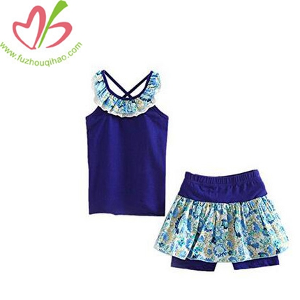 Girls' Shorts Set Summer Flower Sleveless Outfit
