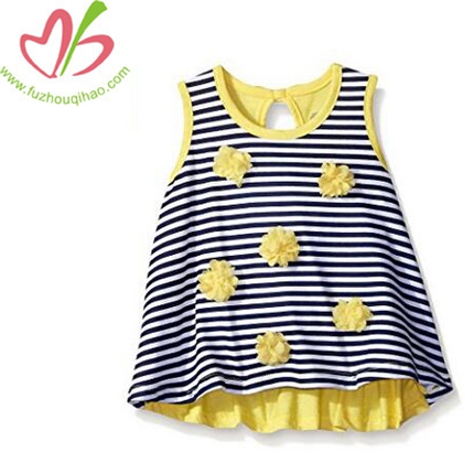 Girls' Sleeveless Swing Top with Rosettes Shirt