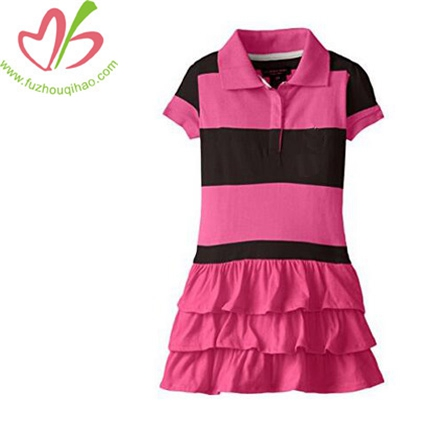 Little Girls' Ruffled Striped Polo Dress