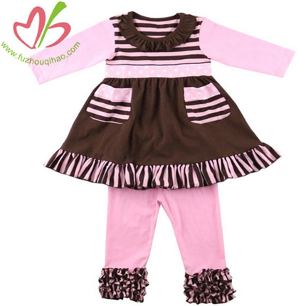 Pink Triple Ruffles Girl's Legging Set