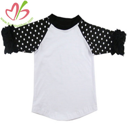 Black Polkadot Girls' Raglan Sleeves Tees