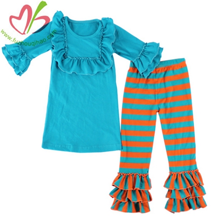 3/4 Sleeves Girls's Bibs Blouse Set