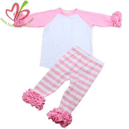 Pink Stripe Raglan Sleeves Clothing Set