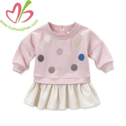 Casual Pink Baby Girl's Hoody Dress,