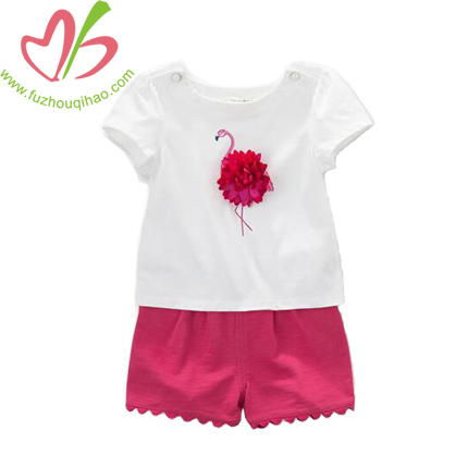 Girl's Short Puff Sleeve T Shirt and Shorts, Girl's Sets